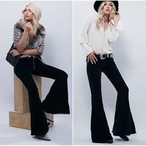 Free People Black Denim Super Flare Jeans